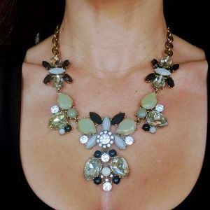 Neutral Black Crystal and Ivory Statement Necklac